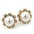 Classic Diamante Faux Pearl Flower Stud Earrings In Gold Plating - 18mm Diameter - view 7