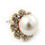 Classic Diamante Faux Pearl Flower Stud Earrings In Gold Plating - 18mm Diameter - view 8