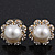 Classic Diamante Faux Pearl Flower Stud Earrings In Gold Plating - 18mm Diameter - view 2