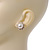 Classic Diamante Faux Pearl Flower Stud Earrings In Gold Plating - 18mm Diameter - view 5