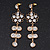 Clear Crystal Goldtone Flower Drop Earrings - 7.5cm Length