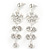 Clear Crystal Silvertone Flower Drop Earrings - 7.5cm Length - view 2