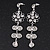 Clear Crystal Silvertone Flower Drop Earrings - 7.5cm Length