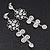 Clear Crystal Silvertone Flower Drop Earrings - 7.5cm Length - view 4