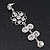 Clear Crystal Silvertone Flower Drop Earrings - 7.5cm Length - view 6