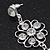 Clear Crystal Silvertone Flower Drop Earrings - 7.5cm Length - view 5