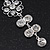 Clear Crystal Silvertone Flower Drop Earrings - 7.5cm Length - view 7
