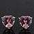 Classic Pink CZ 'Heart' Stud Earrings In Rhodium Plating - 11mm Diameter - view 9