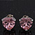 Classic Pink CZ 'Heart' Stud Earrings In Rhodium Plating - 11mm Diameter - view 10