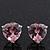 Classic Pink CZ 'Heart' Stud Earrings In Rhodium Plating - 11mm Diameter - view 5