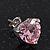 Classic Pink CZ 'Heart' Stud Earrings In Rhodium Plating - 11mm Diameter - view 3