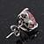 Classic Pink CZ 'Heart' Stud Earrings In Rhodium Plating - 11mm Diameter - view 4