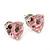 Classic Pink CZ 'Heart' Stud Earrings In Rhodium Plating - 11mm Diameter - view 7