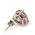 Classic Pink CZ 'Heart' Stud Earrings In Rhodium Plating - 11mm Diameter - view 6