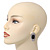 Burn Silver Black Jewelled Oval Stud Earrings - 3.5cm Length - view 6