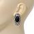 Burn Silver Black Jewelled Oval Stud Earrings - 3.5cm Length - view 2