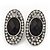 Burn Silver Black Jewelled Oval Stud Earrings - 3.5cm Length