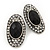 Burn Silver Black Jewelled Oval Stud Earrings - 3.5cm Length - view 4