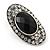 Burn Silver Black Jewelled Oval Stud Earrings - 3.5cm Length - view 3
