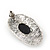 Burn Silver Black Jewelled Oval Stud Earrings - 3.5cm Length - view 5