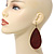 Long Dark Red Enamel Teardrop Earrings In Bronze Metal - 9.5cm Length - view 3