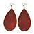 Long Dark Red Enamel Teardrop Earrings In Bronze Metal - 9.5cm Length - view 1