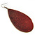 Long Dark Red Enamel Teardrop Earrings In Bronze Metal - 9.5cm Length - view 4