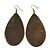 Long Dark Olive Enamel Teardrop Earrings In Bronze Metal - 9.5cm Length