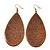 Long Brown Enamel Teardrop Earrings In Bronze Metal - 9.5cm Length