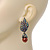 Swarovski Crystal 'Leaf' Metallic Brown Simulated Pearl Drop Earrings In Gun Metal Finish - 5.5cm Length - view 2