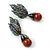 Swarovski Crystal 'Leaf' Metallic Brown Simulated Pearl Drop Earrings In Gun Metal Finish - 5.5cm Length - view 4
