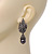 Swarovski Crystal 'Leaf' Dark Grey Simulated Pearl Drop Earrings In Gun Metal Finish - 5.5cm Length - view 3