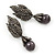 Swarovski Crystal 'Leaf' Dark Grey Simulated Pearl Drop Earrings In Gun Metal Finish - 5.5cm Length - view 4