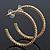 Clear Crystal Hoop Earrings In Gold Plating - 5cm Diameter