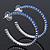 Sapphire Blue Coloured Crystal Hoop Earrings In Rhodium Plating - 5cm Diameter