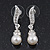 Prom Diamante Simulated Pearl Drop Earrings In Rhodium Plating - 3.5cm Length - view 4