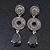 Grey Swarovski Crystal and CZ Teardrop Chandelier Earrings In Silver Plating - 60mm Length - view 9