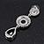 Grey Swarovski Crystal and CZ Teardrop Chandelier Earrings In Silver Plating - 60mm Length - view 5