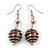 Silver Tone Chocolate Brown Faux Pearl Drop Earrings - 5.5cm Drop - view 1