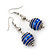 Silver Tone Navy Blue Faux Pearl Drop Earrings - 5.5cm Drop - view 2
