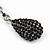 Jet Black Pave Set Swarovski Crystal Teardrop Earrings In Rhodium Plating - 4cm Length - view 4
