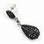 Jet Black Pave Set Swarovski Crystal Teardrop Earrings In Rhodium Plating - 4cm Length - view 6