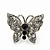 Rhodium Plated Pave Set Butterfly Stud Earrings - 20mm Width - view 4