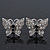 Rhodium Plated Pave Set Butterfly Stud Earrings - 20mm Width - view 1
