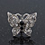 Rhodium Plated Pave Set Butterfly Stud Earrings - 20mm Width - view 3