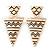 Black/ White Enamel Geometric Egyptian Style Drop Earrings In Gold Plating - 6cm Length