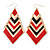Black&Red Enamel Geometric Drop Earrings In Gold Plating - 8.5cm Drop - view 2