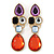 Multicoloured Glass Stone Linear Drop Earrings In Gold Plating - 73mm Length