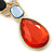 Multicoloured Glass Stone Linear Drop Earrings In Gold Plating - 73mm Length - view 4