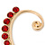 1 Pc Red Crystal Ear Cuff With Comb In Gold Plating - Only For The Right Ear - view 4